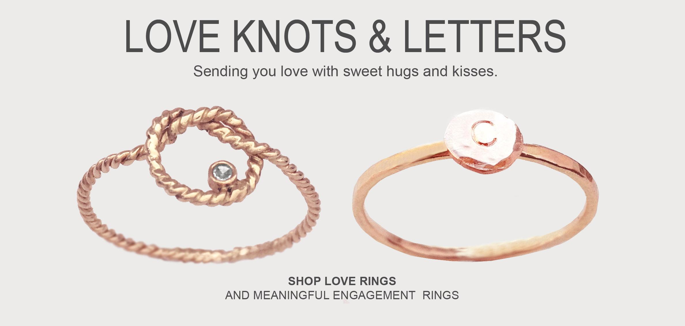 gold diamond love knot ring love letter ring