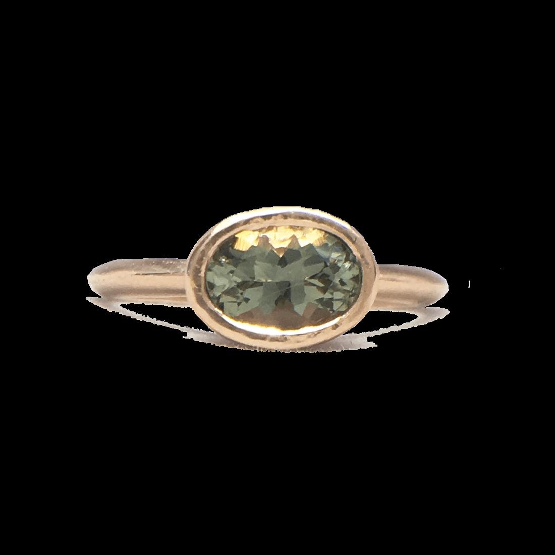 oval blue oregon suntone rose gold engagement ring